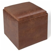 Simpli Home Rockwood Faux Air Leather Storage Ottoman in Distressed Saddle Brown - 1