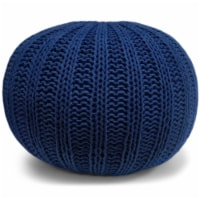 Simpli Home Shelby Boho Round Hand Knit Pouf in Blue Cotton - 1