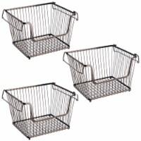 mDesign Metal Stackable Kitchen Storage Basket with Handles - 3
