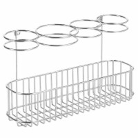 mDesign Metal Cabinet/Wall Mount Hair Care Styling Tool Storage Basket - Chrome