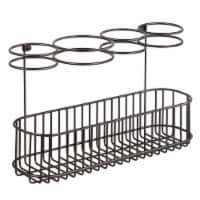 mDesign Metal Cabinet/Wall Mount Hair Care Styling Tool Storage Basket - Bronze