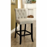 Saltoro Sherpi Button Tufted Fabric Upholstered Bar Chair In Wood, Ivory And Black, Set Of 2