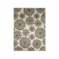 Saltoro Sherpi Nylon and Latex Area Rug With Flower Pattern, Small, Black and Beige - 1 unit