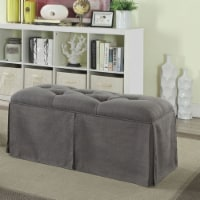 Saltoro Sherpi Rectangular Button Tufted Fabric Upholstered Bench With Storage, Gray