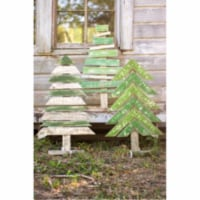 Set Of 3 Recycled Wood Trees With Stands Approx 22   X 36 T - 1