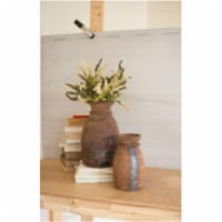 Set Of 2 Mango Wood Urns Approx Large 14.4 D X 16.5 T  Small 10 D X 15.5 T - 1