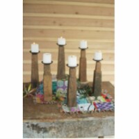 Set Of 6 Repurposed Wooden Furniture Leg Candle Holders Approx 3.5  X 3.5  X 12 T - 1