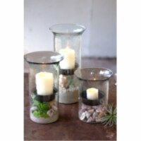 Original Glass Candle Cylinder W Rustic Insert - Large 7  X 19 T - 1