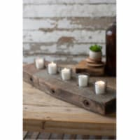 Recycled Wooden Beam With Five Glass Candle Holders Approx 6.5  X 22.5  X 4 T - 1