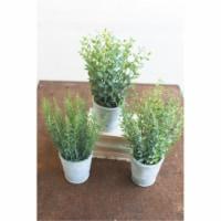 Kalalou CNL1183 5 x 13 in. Artificial Herbs in Cement Pots - Set of 3 - 1