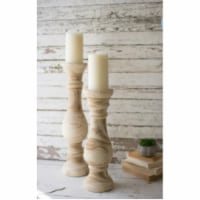 Set Of 2 Hand Carved Wooden Candle Stands Large 6 D X 25 T - 1