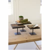 Set Of 3 Recycled Wood Risers W Antique Black Metal Bases Largest 12  X 12  X 8.5 T - 1