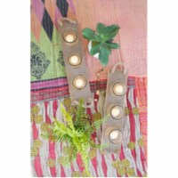 Set Of 2 Three Glass Candle Holders On A Recycled Wooden Base 18.5  X 4.5  X 5 T - 1