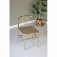 Antique Brass Finish Metal Wishbone Chair 18  X 18  X 31.5 T - 1