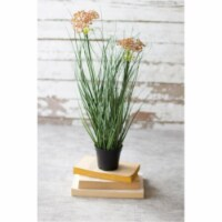 Set Of 6 Artificial Potted Onion Grass With Two Flowers 3 D X 18 T - 1