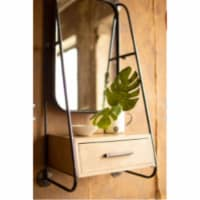 Metal Wall Mirror With Drawer 18  X 10.5  X 35.5 T - 1