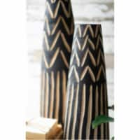 Set Of 2 Tall Black Wooden Vases With Carving Large 7 D X 24 T - 1