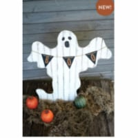 Painted Wooden Ghost  With Boo Pennant 32  X 34 T - 1