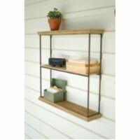 Three Tiered Wood And Metal Wall Shelf 26  X 5.5  X 24.5 T - 1