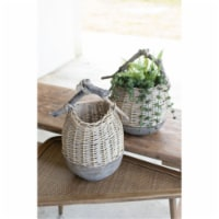 Set Of 2 Repurposed Wood And Willow  Baskets Large Approx 13  X 11.5  X 20 T - 1