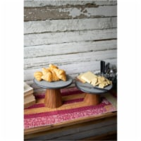 Set Of 2 Lava Stone Cake Stands With Wood Pedestals Large 10 D X 7 T - 1