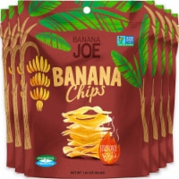 Banana Chips BBQ (6 Packs) Gluten Free, Vegan, no sugar added healthy chips for kids adults - 6 packs