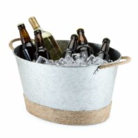 Jute Rope Wrapped Galvanized Tub by Twine® - Set of 1