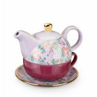 True Fabrications Addison Wildflower Tea for One Teapot and Cup Set - Purple
