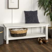 50'' Country Style Entry Bench with Slatted Shelf - White