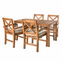 Outdoor Acacia Wood Simple Patio 5-Piece Dining Set with X-Design - Brown - 1