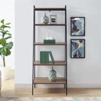 72 inch Metal and Medium Walnut Wood Ladder Shelf - 1