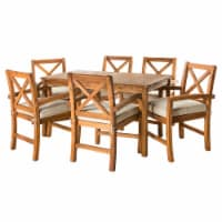 Acacia Wood Simple Patio 7-Piece Dining Set with X-shaped back - Brown - 1