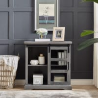 32  Modern TV Stand with Glass Door Accent - Slate Grey - 1