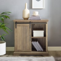 32  Modern Farmhouse Grooved Door Accent TV Stand - Rustic Oak - 1