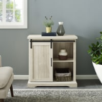 32  Modern Farmhouse Grooved Door Accent TV Stand - White Oak - 1