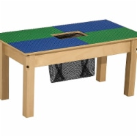 Time-2-Play TP1631SGN18-BG 18 in. Lego Compatible Table with Legs, Blue & Green - Rectangle - 1