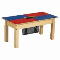 Time-2-Play TP1631SGN22-BR 22 in. Lego Compatible Table with Legs, Blue & Red - Rectangle - 1