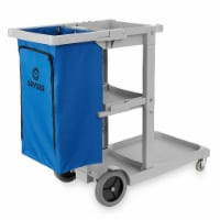 Commercial Janitorial Cleaning Cart with Shelves and Vinyl Bag- Dryser