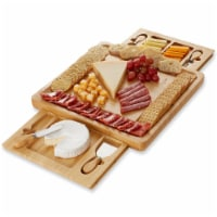 Bamboo Cheese Board Gift Set with 2 Trays and 4 Knives by Casafield - 1