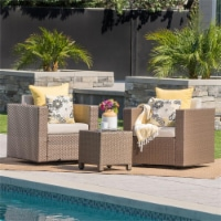 Noble House Glenwood Outdoor Mix Brown Club Chairs (Set of 2) - 1