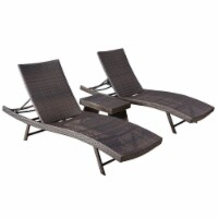 Noble House Kauai 3 Piece Outdoor Wicker Chaise Lounge Set in Multibrown - 1
