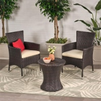 Noble House Malta Outdoor Brown 3 Pc Chat Set - 1