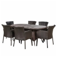 Noble House Corsica 7 Piece Outdoor Dining Set in Brown - 1