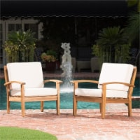 Noble House Peyton Outdoor Wooden Club Chairs w/ Beige Cushions (Set of 2) - 1
