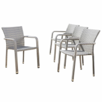 Noble House Dover Outdoor Aluminum Stacking Chairs in Chateau Gray (Set of 4) - 1