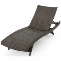 Noble House Thira Outdoor Wicker Chaise Lounge Chair Mix Mocha - 1
