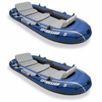 Intex Excursion 5 Person Inflatable Boat Set w/ 2 Oars, Air Pump & Bag (2 Pack) - 1 Unit
