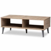 Baxton Studio Pierre Wood Coffee Table in Oak and Light Grey - 1