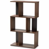 Baxton Studio Legende 3 Shelf Display Bookcase in Brown and Dark Grey - 1