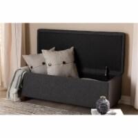 Baxton Studio Marlisa Upholstered Ottoman in Walnut and Dark Grey - 1